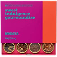 DAVIDsTEA Sweet Indulgence Tea Sampler, Dessert Loose Leaf Tea Gift Set, Assortment of 12 Decadent Teas, 120 g / 4.2 oz