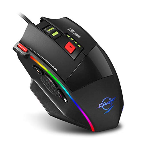 Gaming Mouse Wired,Zelotes C17 6400 DPI Game Mouse,8-Piece Weight Tuning Set, RGB LED Lights Ergonomic Mouse Mice for Laptop, PC,Black