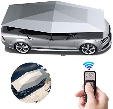 ポータブルカーパラソル、折りたたみテント全自動自動車保護カーポート、耐紫外線、防水、防風、雪、嵐のあられ,Silver grey,4200*2300 mm