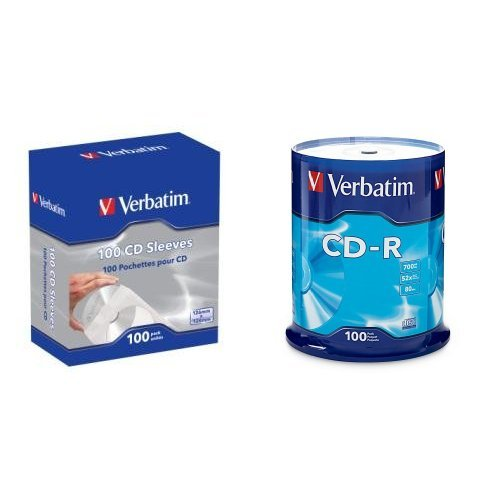 Price comparison product image Verbatim CD/DVD Paper Sleeves-with clear window 100pk w/ CD-R 700MB 52X 100pk Spindle