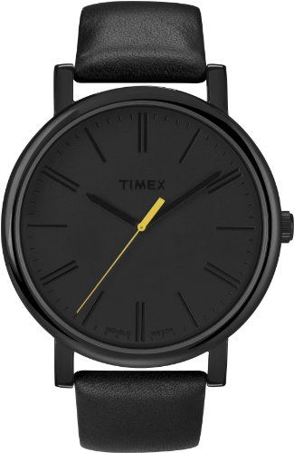 Timex Easy Reader Black Leather Strap Mens Watch T2N793