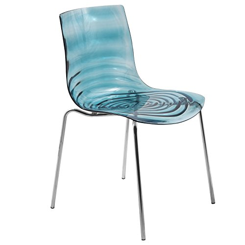 LeisureMod Water Ripple Design Modern Lucite Dining Side Chair with Metal Legs in Transparent Blue (Chairs Lucite Blue)