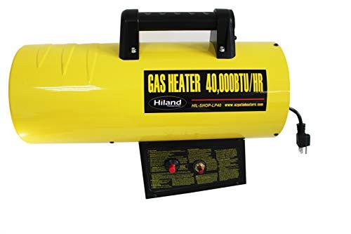 Hiland HIL-SHOP-LP40 HIL-SHOP-LP40-40,000 BTU's Propane Forced Air Shop Heater, yellow