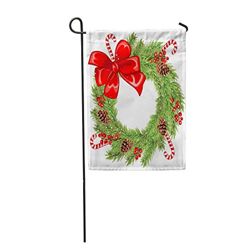 "Tarolo Decoration Flag Green Berry of Christmas Wreath Red Bow Holly Berries Lollipops and Pinecones Celebration Cone Thick Fabric Double Sided Home Garden Flag 12"" W x 18"" H"