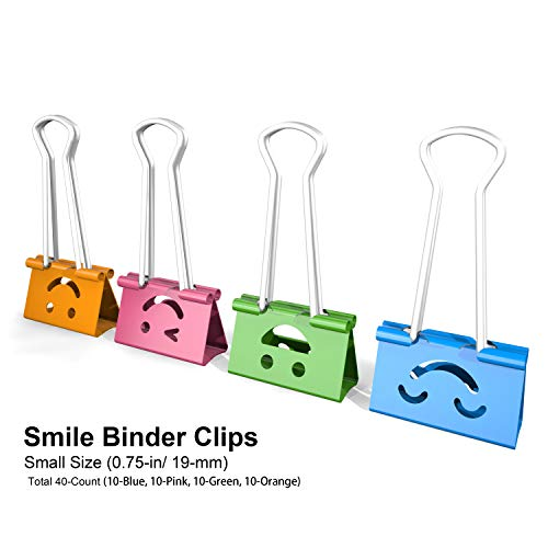 (Nctinystore Small Binder Clips Smile (Emoji) Metal Clamp 0.75-inch / 19-mm (Smile, 40-PCS))