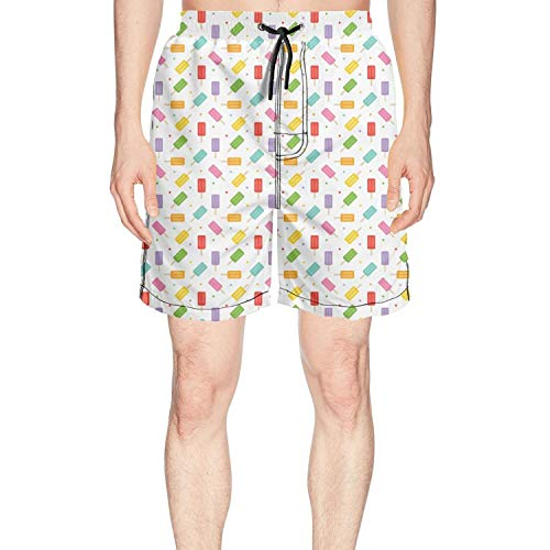 Men's Colorful Ice Cream and Dots Summer Quick Dry Volley Beach Shorts Fashion Swim Trunks by Rus Ababy