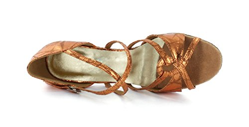 Women's TDA Dance Gold Suede Latin Stylish Shoes Leather Ballroom Salsa qCCgd