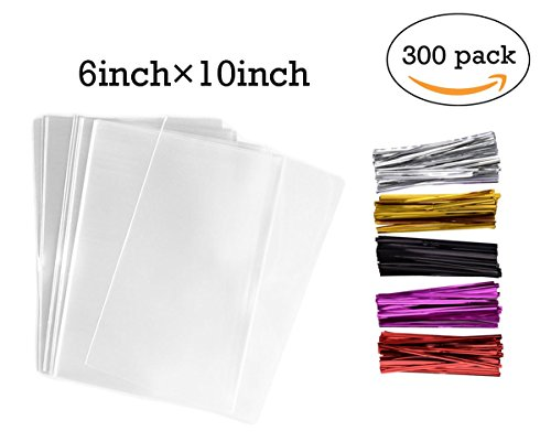 300 Pack Clear Treat Bags Cellophane Bags with 300 4
