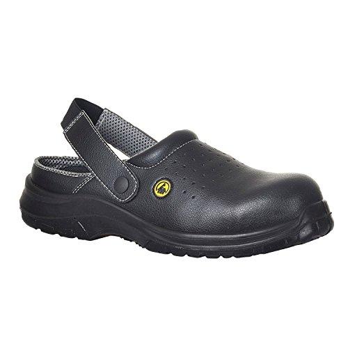Portwest FC03BKR47 Sandalo di Sicurezza Traforato SB AE ESD in Composito, Nero, 47
