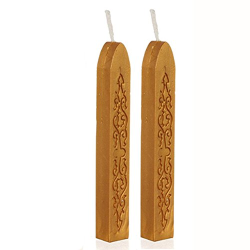 - Finedayqi  2Pcs Vintage Gold Manuscript Sealing Seal Wax Sticks Wicks for Postage Letter