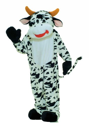 Forum Deluxe Plush Cow Mascot Costume, Black, One Size (Cow Costumes)