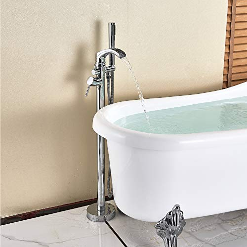 Senlesen Bathroom Single Handle Freestanding Bathtub Faucet Floor Mounted Waterfall Tub Filler with Hand Shower Set Chrome Finish