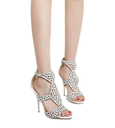 Fashion Evening Stiletto Sexy Strap Shoes Ankle Women's Rhinestone Silver CAMSSOO Hollow Sandals UX1fxq