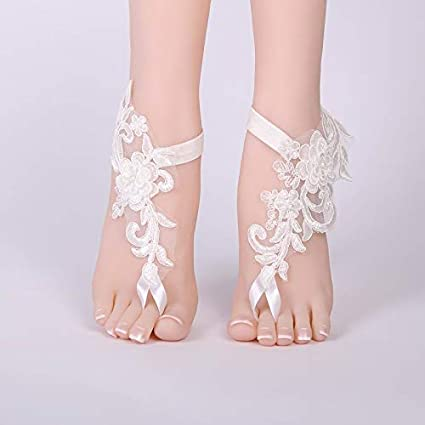 f2ed021a9d8e Amazon.com  Culturemart Sexy Wedding Foot Chain White Barefoot Sandals  Beach Anklet Jewelry Wedding Shoe Lace 1pair Set  Kitchen   Dining