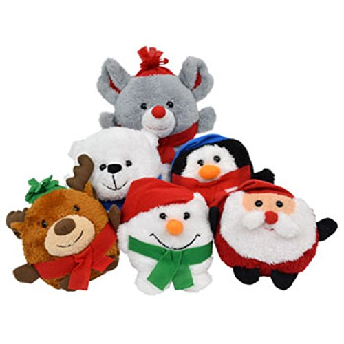 Fuzzy Friends Bundle: 6 Items - Plush Christmas Roly-Poly Pals, 5 Inch