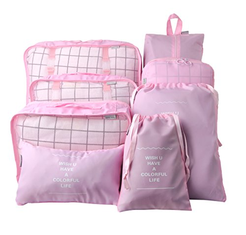 Vercord 8 Pcs Packing Cubes Pods Travel Luggage Suitcase Organizer & Shoes Laundry Bags, Pink