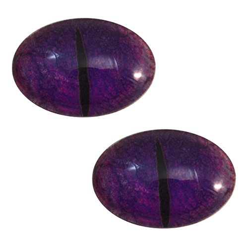 Purple Dragon Oval Glass Eyes Fantasy Taxidermy Art Doll Making, Fantasy Sculptures or Jewelry Crafts Set of 2 (18mm x 25mm)