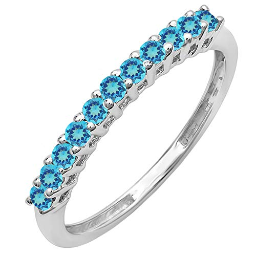 Dazzlingrock Collection 10K Round Blue Topaz Anniversary Stackable Wedding Band 1/3 CT, White Gold, Size 6.5