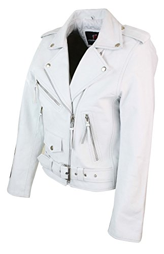 Vera Corta in Brando Pelle Classico Chiodo Donna Bianca Biker bianco da Bianco Giacca Stile AxFqYSS