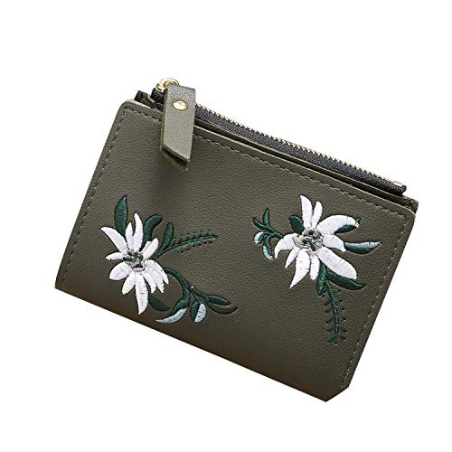 Women Wallet Leather Zipper Flowers Embroidered Ladies s Mini Bag Women PU Leather Coin Purse,Green -