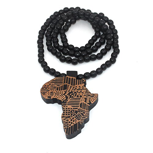 Baoyi Jewelry New Africa Map Wooden Hip-hop Wooden Pendant Piece Wood Bead Chain Good Wood Style for Men (black-wood)