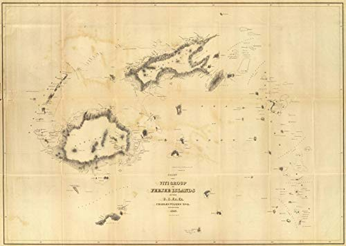 Historic Map | Exploration Book, Chart of The Viti Group or Feejee Islands. 1840 | Historical Antique Vintage Decor Poster Wall Art | 61in x ()