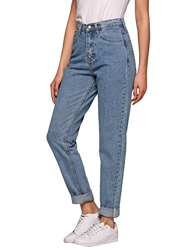 Women High Rise Modern Jeans Classic Fit Boyfriend Straight-Leg Denim Pants (Light Blue, 24(US 0))