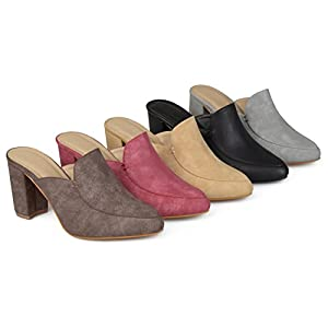 Brinley Co Womens Thirza Block Heel Distressed Loafer Mules