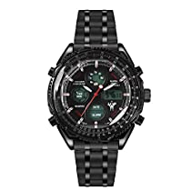 LEAP X PIONEERS Mens Military Water Resistant Dual Display Wrist Watch Stainless Steel Strap LPB130