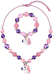 Chunky Bubblegum Unicorn Necklace Bracelet Set Little Girls Jewelry
