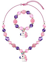 Chunky Jewelry Unicorn Necklace and Bracelet Set for Girls Little Kids