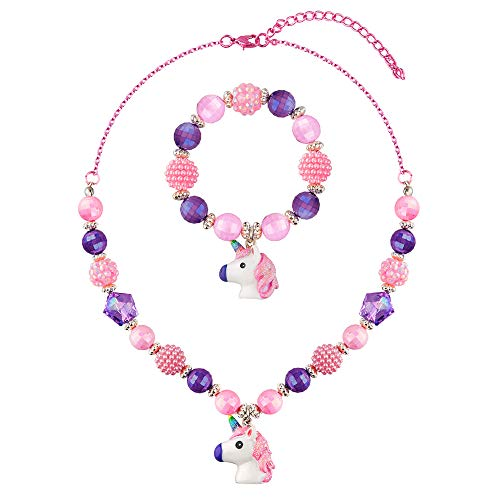 SkyWiseWin Chunky Bubblegum Unicorn Necklace Bracelet Set Little Girls Jewelry