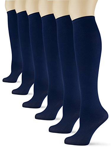 Silky Smooth Knee High Trouser Socks by Sox Trot | Thin Material | - Made in USA (Navy) 6 Pack