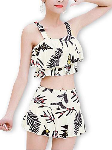 [모카 베리] 탱키니 수영복 보태니컬 꽃 무늬 커버 여성