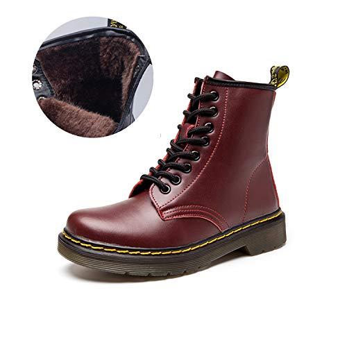 JACKSHIBO Women's Men's Fashion Leather Motorcycle Shoes Winter Combat -