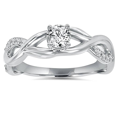 1/2CT Vintage Infinity Diamond Engagement Ring 14K White Gold - Size 5.5