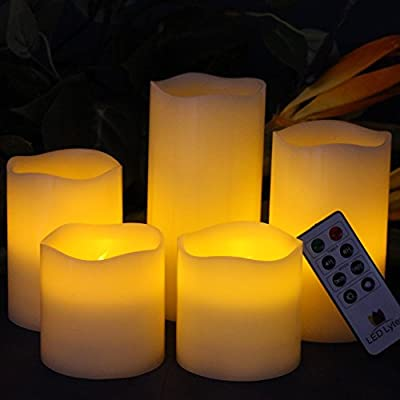 Battery Operated LED Flameless Candles - Large Set of 5 Round Ivory Wax with Flickering Amber yellow Flame, auto-off Timer Remote Control by LED Lytes