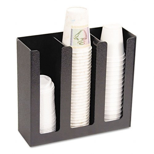 """Vertiflex Products - Vertiflex - Cup Holder, 12-3/4w x 4-1/2d x 11-3/4d, Black - Sold As 1 Each - Commercial-grade construction will not crack, fade or chip. - Provides easy access to cups and lids. - Three 12"""" high columns hold cups from 8-oz. to 32-oz. size. - Nonskid tabs on base keep cup holder secure on counter. -"""
