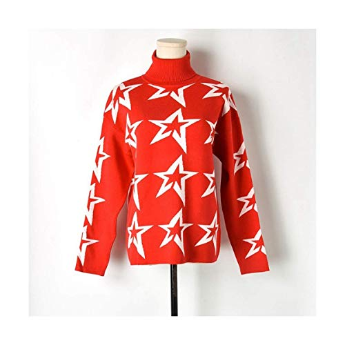 Inverno Mon5f Nero Maglione Home Collo Donna Stella Size One In Red Alto color Bianco Size Red Lana Di Pullover qqESF