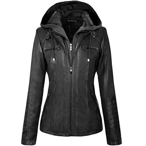Newbestyle Womens Hooded Faux Leather Moto Biker Short Jacket Quilted Zip Up Coats Black X-Large