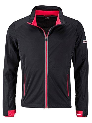 noir (noir lumière-rouge) S JAMES & NICHOLSON Hommes's Sports Softshell veste, Blouson Homme