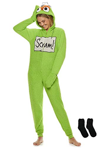 - MJC Women's Cookie Monster, Elmo, Oscar Gloved Union Suit with Matching Sock Gift Set (Green, Large (12-14))