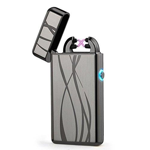 USB Rechargeable Plasma Lighter Flameless Windproof Pulse Dual Arc Electric Cigarette Lighter (Black Line) (Line 2 Lighter)