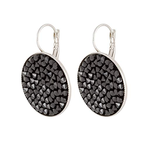 (Mothers Day Gift, Grace - Elegant sparkling black pave set Swarovski crystals earrings for women with a French clasp)