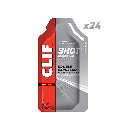 CLIF SHOT - Energy Gels - Double Espresso - 100mg Caffeine (1.2 Ounce Packet, 24 Count) (Packaging May Vary)