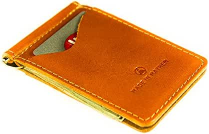 Madison Genuine Leather money clip wallet. Slim front pocket wallet made in USA.