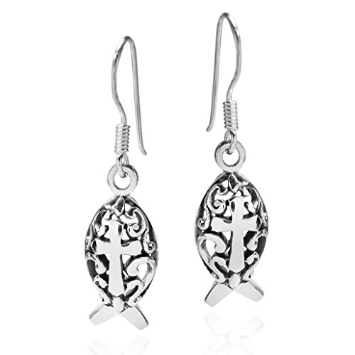 (Christian Fish Swirl Cross .925 Sterling Silver Dangle Earrings)