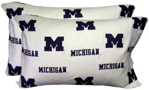 Printed Pillowcase Michigan - College Covers Michigan Wolverines Pillowcase Pair, Standard, White