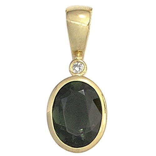 JOBO pendentif en or jaune 585 1 diamant 0,01ct tourmaline vert 1.