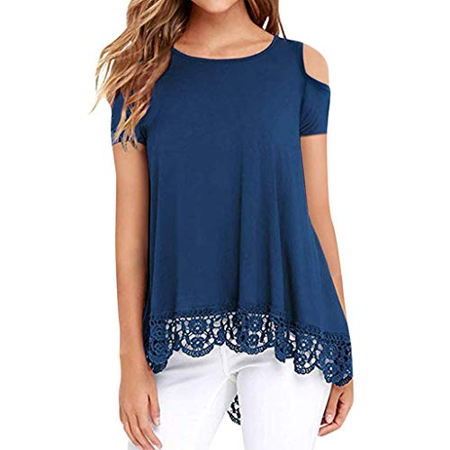 (TANGSen Women O-Neck Lace Short Sleeve Shirt Strapless Shoulder Solid Casual Print Top Loose Fashion Summer Blouse Blue)